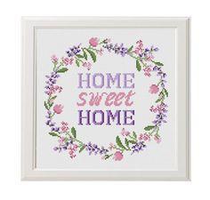 Home sweet home cross stitch pdf pattern Lavender Helleborus