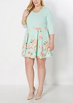 Plus Botanical Garden Pleated Skater Dress