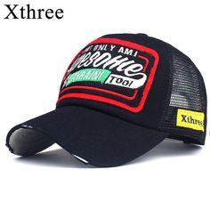 1e80e53e19429 Comprar Xthree Boné de Beisebol Bordado Verão Cap Malha Chapéus Para Os  Homens mulheres Snapback Gorras