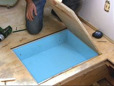 Boat in the house. In-floor cubbies add secret storage to a room. These floor boxes offer a perfect location to hide valuables you might not want everyone to find. Learn how to create hidden floor storage with these easy step-by-step directions. Hidden Spaces, Hidden Rooms, Secret Storage, Hidden Storage, Extra Storage, Cubbies, Cubby Houses, Ideias Diy, Secret Rooms