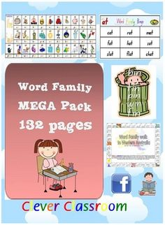Word Family/CVC MEGA Pack - Literacy Centre Activities - PDF file132 pages of CVC/word family games, activities and posters.  Another liter...