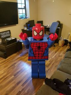 Spent 2 months making Lego Spiderman, my son won first place at his contest from pics One dad wanted to make sure his kid stood out this Halloween. Handmade Halloween Costumes, Mom Costumes, Homemade Halloween, First Halloween, Halloween Kids, Costume Ideas, Diy Lego Costume, Superhero Halloween, Children Costumes