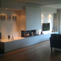 Living Room Decor Fireplace, Fireplace Tv Wall, Living Room Flooring, Kitchen Dining Living, New Living Room, Living Room Interior, Luxury Homes Interior, Home Interior Design, Kensington House