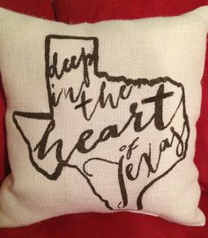 Texas burlap pillow Deep in the Heart of Texas by TwoPeachesDesign, $28.00