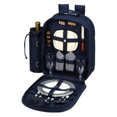 Picnic At Ascot Bold Picnic Backpack for 2 - Navy - 080-BLB
