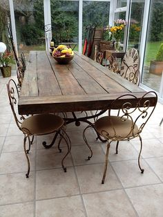 Handmade Reclaimed Timber Dining Table: Dual purpose prep counter/dining table