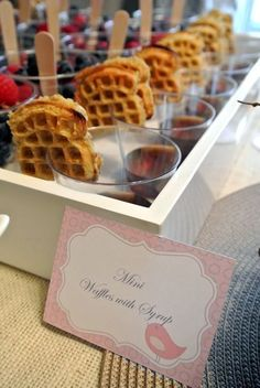 Essential Guide To Hosting A Bridal Shower - The Great idea for a brunch bar.mini waffles with syrup- yogurt cups with fruit/granola. by RioLeighGreat idea for a brunch bar.mini waffles with syrup- yogurt cups with fruit/granola. by RioLeigh Comida Para Baby Shower, Buffet Dessert, Waffle Bar, Waffle Pops, Festa Toy Story, Little Lunch, Birthday Brunch, Birthday Breakfast, Wedding Breakfast
