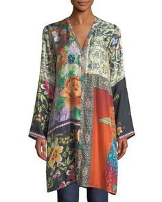 Shiro Printed Button-Front Silk Tunic, Multi by Johnny Was Collection at Neiman Marcus. Vintage Tops, Half Sleeves, Types Of Sleeves, Pull Gris, Elisa Cavaletti, Silk Tunic, Long Kimono, Pulls, Blouses For Women