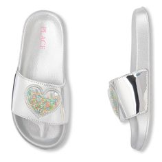 Shop for The Children's Place Girls Heart Confetti Shaker Metallic Slides. Check out our great selection of kids clothes, baby clothes & more at the PLACE where big fashion meets little prices! Girls Dresses Tween, Kids Outfits Girls, Baby Girl Sandals, Girls Sandals, Makeup Kit For Kids, E Claire, Unicorn Fashion, Jojo Bows, Cute Baby Shoes