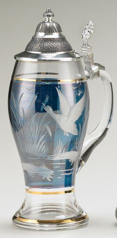 CRYSTAL BLUE DUCK STEIN - German Beer Glasses , Steins and Mugs