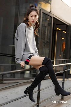 Korean Street Fashion 2018 #무신사 #KStreet #Akiwarinda Fashion 2018, Girl Fashion, The 5th Of November, Korean Street Fashion, Cute Girls, Street Wear, Street Style, Kpop, Boots