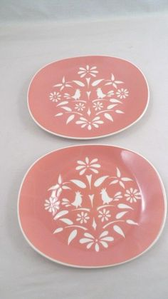 2 Harkerware Harker Country Charm Pennsylvania Dutch Birds Chop Plates Platters #Harkerware