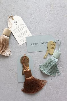 hotel branding We love the idea of framing a key to your favorite hotel in a chic shadowbox. Cant wait to visit The Spectator Hotel, that is opening soon in Charleston. Hotel Branding, Stationary Branding, Luxury Branding, Brand Packaging, Packaging Design, Hangtag Design, Festa Party, Design Hotel, Stitch Design