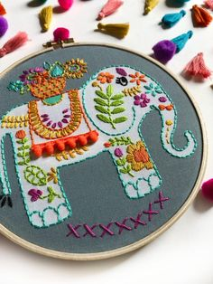 Hand Embroidery Stitches, Modern Embroidery, Hand Embroidery Designs, Embroidery Kits, Phulkari Embroidery, Hamster, Satin Stitch, Needlework, Elephant