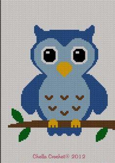 Easy Too Cute Pink Baby Owl Crochet Knit Cross Stitch Afghan Pattern Graph… Crochet Pixel, Crochet Owls, Crochet Chart, Filet Crochet, Easy Crochet, Crochet Stitches, Crochet Baby, Crochet Patterns, Afghan Crochet