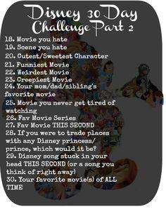 Disney 30 day challenge part 2 #disney #challenge #30daychallenge