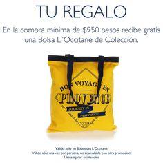 ¿Qué tal llevarse de obsequio esta bolsa L'Occitane de Colección, en compras mínimas de $950 en L=ccia? Aplican restricciones.