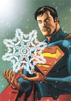 DC Comics 2013 Holiday Card by Dave Johnson. Notice the snowflake design made of Superman, Batman, Wonder Woman and Green Lantern insignias. Terrific design.