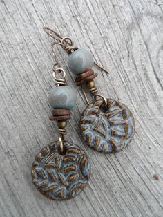 Tapestry  Earthy Clay and Brass Earrings by juliethelen on Etsy, $24.00