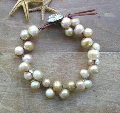 Boho pearl bracelet  Love Knots  Bohemian wrap door 3DivasStudio, $56.00