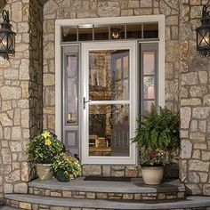 Looking For A Modern Entry Door? A Little Bit Of Bevel Glass Can Add A  Whole Lot Of Elegance! We Love How The Almond Larson Storm Door Stands Out  Subtly For ...