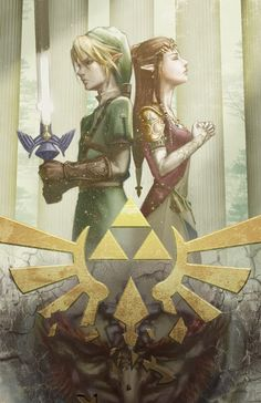Link and Zelda by Baimon *