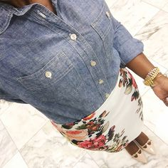 spring work outfit with chambray j.crew shirt and floral skirt