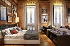ideen für wandgestaltung ziegelwand schlafzimmer