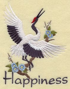 ASIAN CRANE of HAPPINESS  Machine Embroidery by AzEmbroideryBarn, $24.95