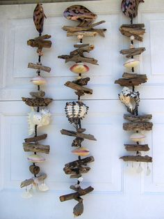 Seashells and Driftwood Chimes Spinner Beach Cottage by HeatherMBC, $25.00