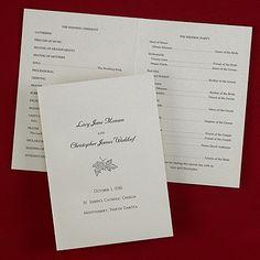 Gold Shimmer Wedding Program weddingneeds.carlsoncraft.com