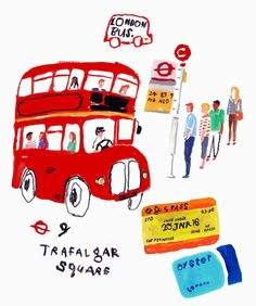 London bus illustration for my first post in 2016 by moreparsley
