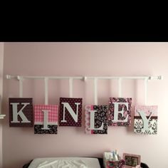 Our attempt at a unique name decoration in Kinley's nursery
