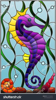 Illustration in stained glass style with a fish seahorse on the background of water and algae Stained Glass Quilt, Stained Glass Crafts, Stained Glass Designs, Stained Glass Panels, Stained Glass Patterns, Animal Original, Seahorse Art, Seahorses, Glass Painting Designs