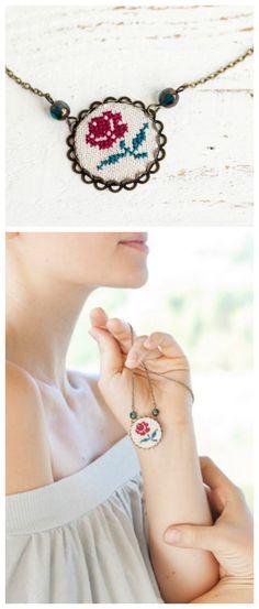 Einzigartige Ketten mit bestickten Anhängern, Stickschmuck als Geschenkidee / folklore necklaces: embroidery jewelry, boho style made by Skrynka via DaWanda.com