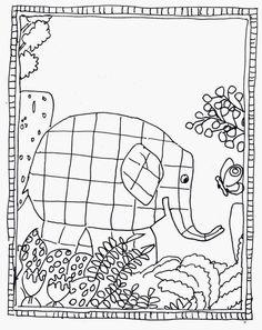 Elmer coloring page Pattern Coloring Pages, Colouring Pages, Drawing For Kids, Art For Kids, Jungle Crafts, Elmer The Elephants, Ecole Art, Pre Kindergarten, Safari Theme