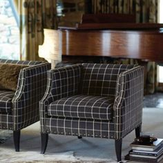 Bernhardt Interiors | Romney Chair, in grey windowpane plaid