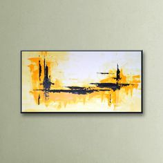"48"" Yellow Black Gray White Original Abstract Painting on Canvas Wall Art Home Decor Wall Hanging UNSTRETCHED AUL02 von EditVorosArt auf Etsy https://www.etsy.com/de/listing/236342935/48-yellow-black-gray-white-original"