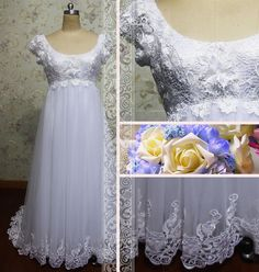 Elegant sccop neckline short sleeves aline by Loveannaweddingdress, $275.00