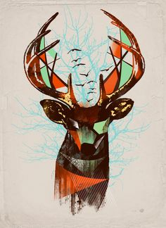 Trapped Art Print #art #hipster #deer