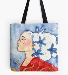 Snowflake Fairy Tote Bag Snowy Forest, Snowy Trees, Beard Winter, Christmas Art, Christmas Wreaths, Winter Illustration, Winter Fairy, Winter Painting, Nature Artwork