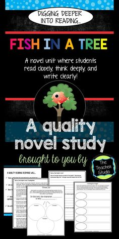 If you are looking for a resource to help you and your students really dig into this amazing book, check out this novel study for Fish in a Tree...talk about characters, plot, theme, and more!  Teacher guide, writing prompts, graphic organizers, and more!