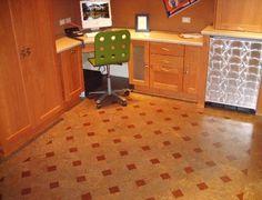 Linotile and Cork Tile Hand-laid floors offoot-easy tile Cork Flooring Kitchen, Tile Flooring, Easy Tile, Cork Wall, Cork Tiles, Cork Crafts, Eco Friendly House, Hardwood Floors, Fantasy Life