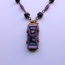 Art Deco Czech Purple Molded Glass Necklace