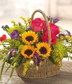 Summer Flowers - Same Day Flower Delivery Service using Local Florists Basket Flower Arrangements, Artificial Floral Arrangements, Beautiful Flower Arrangements, Summer Flowers, Silk Flowers, Beautiful Flowers, Deco Floral, Floral Design, Ikebana