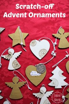 Pretty advent calendar Christmas ornaments, including instructions on how to make your own scratch-off paint
