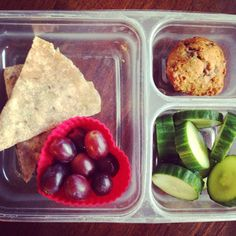 School lunch: black bean and cheese quesadilla, organic red grapes, homemade banana chocolate chip muffin, English cucumber slices. #schoollunch #homemade #muffins #quesadilla #healthytips #healthykids #organic #SuperStartsHere