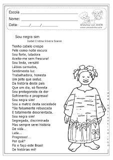 """Alfabetizar com AMOR: SOU NEGRA SIM - TEXTO E ATIVIDADES SOBRE A """"CONSCIÊNCIA NEGRA"""" - 5º ANO"""