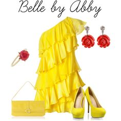 Disney Princess Belle inspired outfit, created by abby-heston on Polyvore