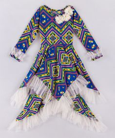 Love this Blue & Yellow Geometric Handkerchief Dress - Toddler & Girls on #zulily! #zulilyfinds